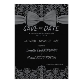 """5""""x7"""" Vintage Lace Dark Bow Wedding Save The Date Custom Announcements"""
