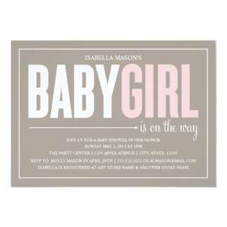 "5 x 7 Baby Girl | Baby Shower Invite 5"" X 7"" Invitation Card"