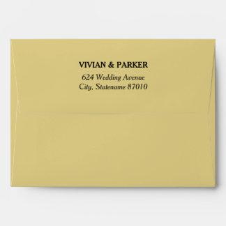 5 x 7 Champagne Gold Envelopes with Return Address