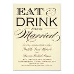 5 x 7 comen, bebida y sean cena casada del ensayo invitacion personal