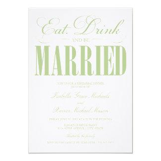 5 x 7 comen, bebida y sean cena casada del ensayo invitaciones personalizada