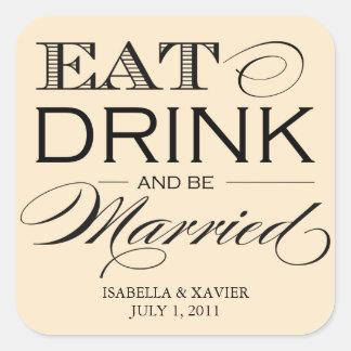 5 x 7 comen, bebida y sean pegatinas casados del | pegatina cuadradas personalizadas