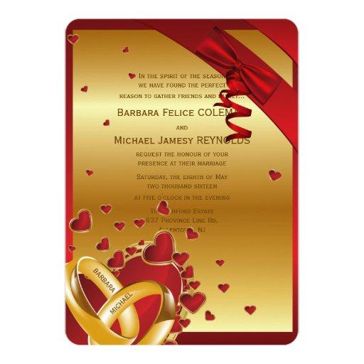 """5"""" x 7"""" corazones de oro modernos de lujo de los invitación personalizada"""