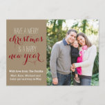 """5 x 7 Crafty Christmas Holiday Photo Card<br><div class=""""desc"""">A craft paper background gives this card a rustic feel. Personalize it with your own photo.</div>"""