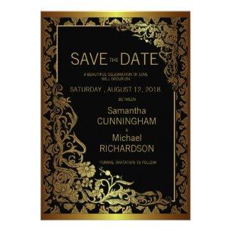 "5 x 7"" Damask Luxury Golden Black Wedding ćž Custom Announcements"