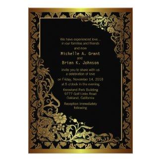 "5 x 7"" Damask Luxury Golden Black Wedding Invite"