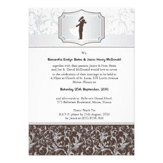 """5"""" x 7"""" Damask Vintage Elegant Wedding Invite"""