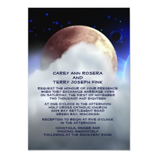 "5"" x 7"" Deep Space Planets Wedding Invitation"