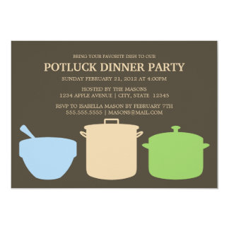 5 x 7 el fiesta de la cena | de Potluck invita Invitacion Personal