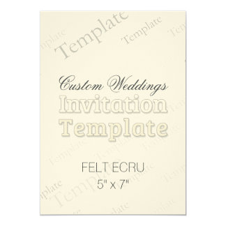 "5"" x 7"" Felt Ecru Custom Wedding Invitation"