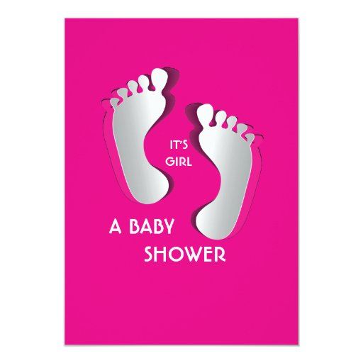 """5"""" x 7"""" fiesta de bienvenida al bebé rosada de los comunicados personales"""