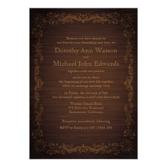 "5"" x 7"" Floral Wooden Style Wedding Invitation"