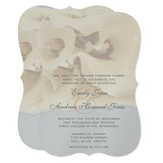 5 x 7 Gray & Ivory Calla Lily Wedding Invitation