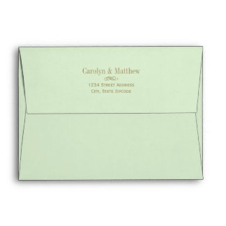 5 x 7 Green Envelope Antique Return Address