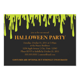5 x 7 Green Slime | Halloween Party Invite