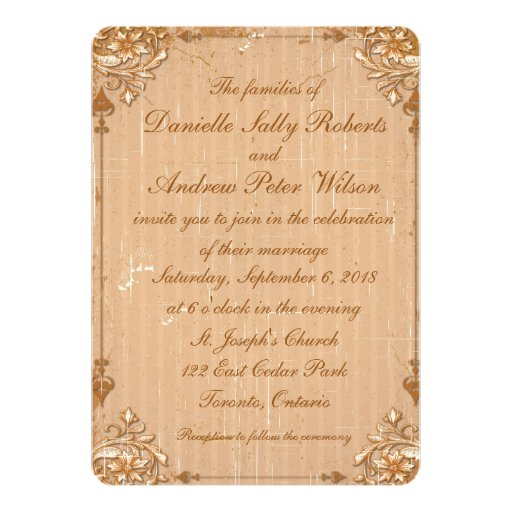 """5"""" x 7"""" invitación floral del boda del Grunge"""