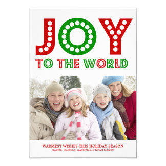 5 x 7 Joy To The World | Photo Holiday Card Personalized Announcement