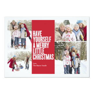 5 x 7 Merry Little Christmas   Photo Holiday Card Personalized Announcement