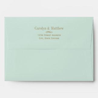 5 x 7 Mint Green Envelope Antique Return Address