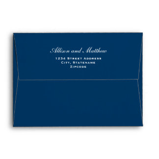 5 x 7 Navy Blue Envelopes with White Address