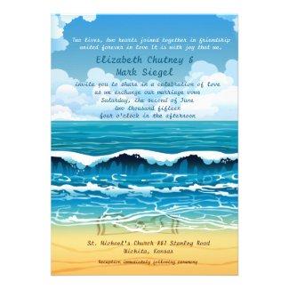 "5"" x 7"" Ocean Beach Waves Wedding Invitation"