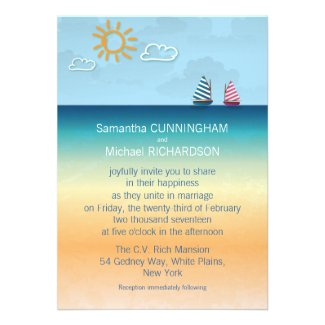 "5"" x 7"" Ocean Sand Beach Theme Wedding Invitation"