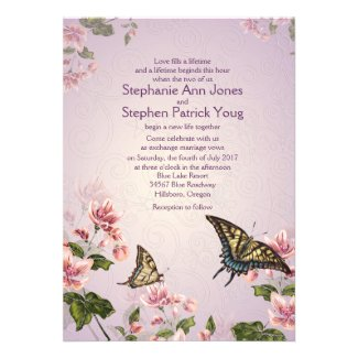 "5"" x 7"" Pink Floral Flowers Wedding Invitation"