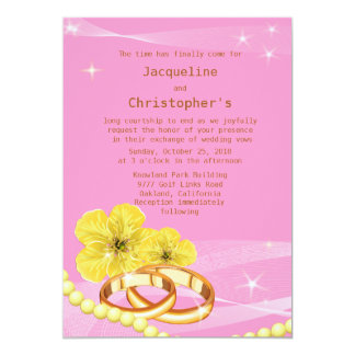 """5"""" x 7"""" Pink & Yellow Floral Spring Wedding Invite"""