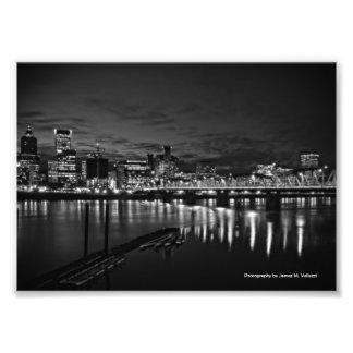 5 x 7 Portland Skyline at Night #2 Photographic Print