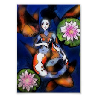 "5"" x 7"" print Koi Mermaid"