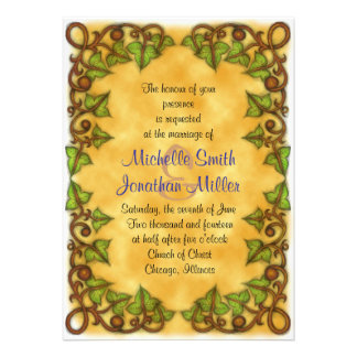 5 x 7 Purple Butterfly and Ivy Heart Invitation