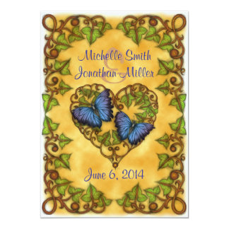 """5"""" x 7"""" Purple Butterfly and Ivy Heart Invitation"""