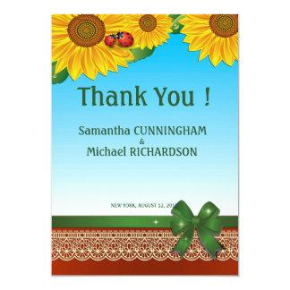 """5"""" x 7"""" señora Bugs Sunflowers Card del verano de Invitación 5"""" X 7"""""""