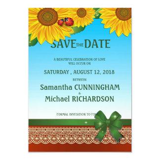 """5"""" x 7"""" señora Bugs Sunflowers del verano de la Invitación 5"""" X 7"""""""