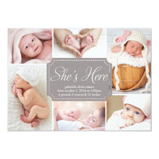 5 x 7 She's Here | Birth Announcement
