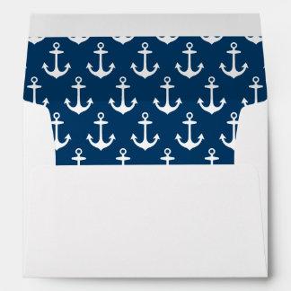 5 x 7 sobres de envío con el remite de la marina