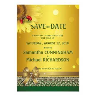 """5"""" x 7"""" Spring Summer Lady Bugs Save The Date Custom Announcements"""