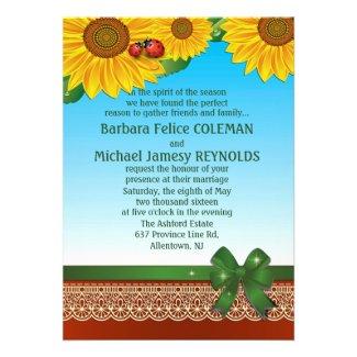 "5"" x 7"" Spring Summer LadyBugs Sunflowers Invitation"