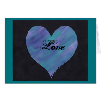 5 x 7 Valentine's Day Card Blue/Pink/Purple Heart