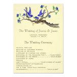 "5 x 7 Vintage bluebirds Wedding Program 5"" X 7"" Invitation Card"