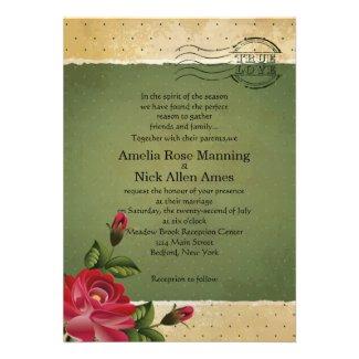 "5"" x 7"" Vintage Grunge Floral Wedding Invitation"