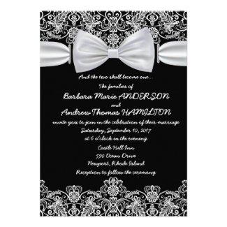"5"" x 7"" Vintage Lace Bow Wedding Invitation"