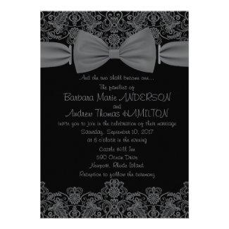 "5"" x 7"" Vintage Lace Dark Bow Wedding Invitation"