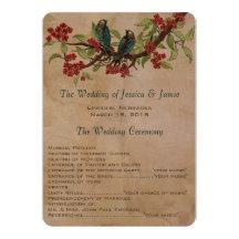 5 x 7 Vintage Love Birds Tea Stain Wedding Program Announcement