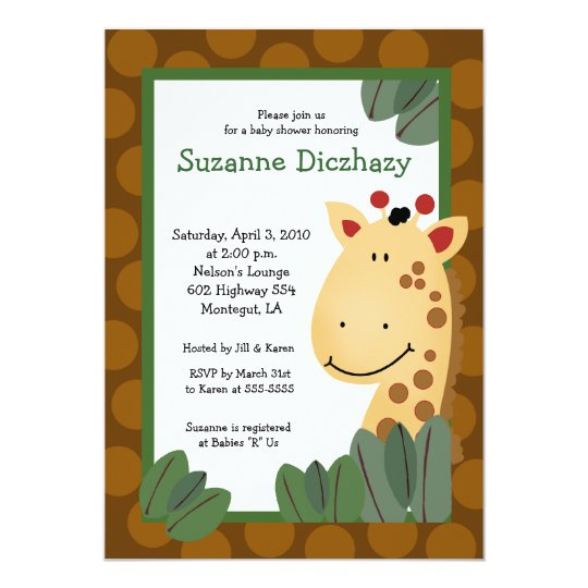 5 x 7 Zanzibar GIRAFFE Jungle Baby Shower Card