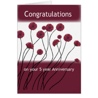 5 Year Anniversary 12 Step Recovery Flowers Card