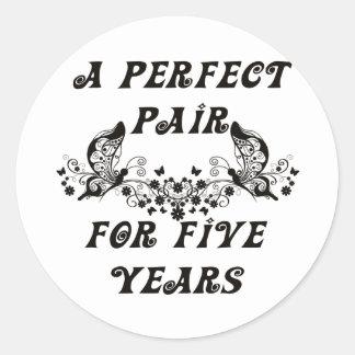 5 Year Anniversary Classic Round Sticker