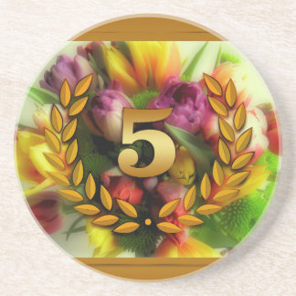 5 year anniversary floral illustration coaster