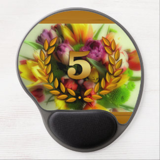 5 year anniversary floral illustration gel mouse pad
