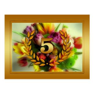 5 year anniversary floral illustration postcard